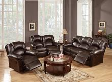 Poundex F6675-74 2 pc halifax ii collection espresso bonded leather upholstery sofa and love seat set with recliner ends