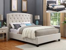Crown Mark 5111-IV Eva ivory colored fabric upholstered button tufted headboard queen bed