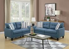 2 pc Collette II collection blue glossy polyfiber fabric upholstered sofa and love seat set