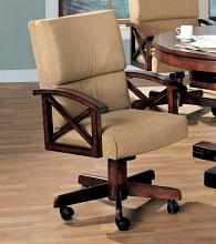 Gameroom / Poker chair rustic tobacco finish wood and tan fabric upholstered swivel chair with casters