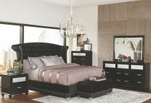 300643Q 5 pc Brazille black finish wood metallic velvet headboard queen bedroom set