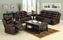 CM6551-2PC 2 pc berkshire dark brown leather-like fabric sofa and love seat with recliner ends