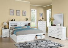 Acme 24490Q 5 pc louis phillipe iii white finish wood storage headboard underbed drawers queen bedroom set