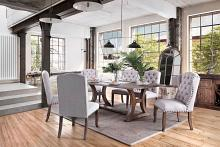 CM3829T-7PC 7 pc Gianna rustic pine finish wood trestle base dining table set