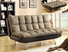 Sundown espresso and pebble upholstered folding futon sofa bed with chrome legs