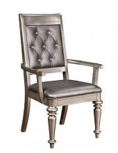 Set of 2 Danette II collection metallic platinum finish wood metallic leatherette upholstered arm chair