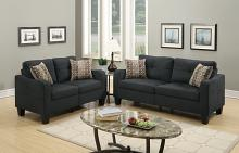 Poundex F6922 2 pc collette II collection black linen like fabric upholstered sofa and love seat set