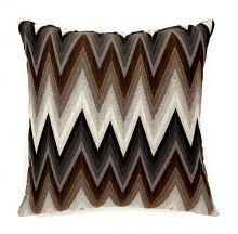 "Set of 2 ziggs collection brown colored fabric 18"" x 18"" throw pillows"