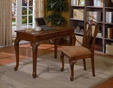 5205-2PC 2 pc writing desk and chair set in a cherry brown finish wood
