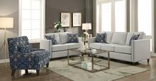 506251-52 2 pc Cranson collection putty linen like fabric upholstered sofa and love seat set with nail head accents