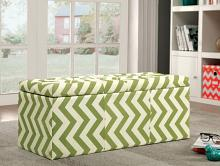 CM-BN6031GR Zahra i green zig zag chevron fabric storage ottoman with tufted top