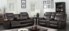 Furniture of america CM6297 2 pc Chenai brown breathable leatherette sofa and love seat with recliner ends