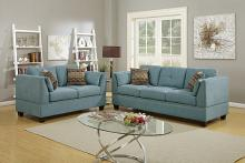 Poundex F6918 2 pc Alcott hill esmond hydra blue velveteen fabric sofa and love seat set with nail head trim