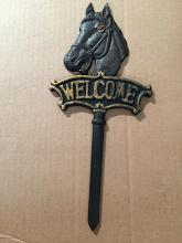 "Chibp-2974-16, cast iron black horse welcome garden stake, 6""x13"""