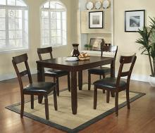 5 pc oklahoma collection espresso finish wood dining table set with upholstered seats