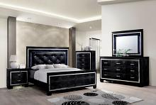 CM7979BK 5 pc bellanova black finish wood queen bed set with padded and tufted crocodile textured faux leather headboard