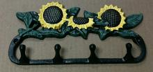Cast iron multi color sunflower four hook wall hanger