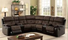3 pc hadley ii collection transitional style two tone upholstery sectional with recliners