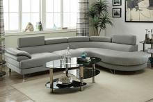 2 pc Madison collection light grey faux leather upholstered sectional sofa set with rounded chaise
