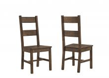 Set of 2 Coleman collection rustic golden brown finish wood natural textured look top dining chairs