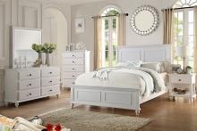 Poundex F9270 5 pc hampton ii panel headboard white finish wood queen bed set