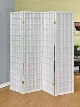 Coaster 902626 4 panel white finieh wood room divider shoji screen