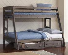 400830 Harriet bee lollis wrangle hill rustic gun smoke grey finish wood twin / full bunk bed