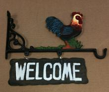 Cast iron rooster welcome hanging sign cd-1267