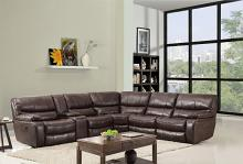 Global United 9931BR-6PC 6 pc Restin II brown leather aire upholstered sectional sofa with recliners
