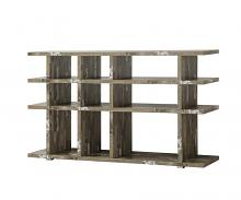 800848 Orren ellis dalenna cabin salvaged cabin finish wood multi level book case silver metal accents