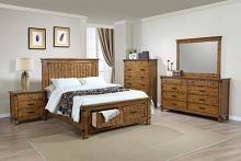 205260Q 5 pc Brendan rustic honey finish wood rustic style queen bed set