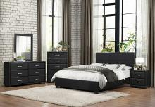 5 pc Lorenzi collection black vinyl upholstered bedroom set