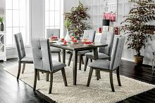 CM3354GY-T-7PC 7 pc abelone mid century modern style gray finish wood dining table set