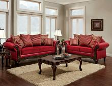 SM7640 2 pc Marcus two tone red fabric red leatherette sofa and love seat set