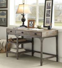 Acme 92325 Gorden weathered oak finish wood antique silver metal frame desk