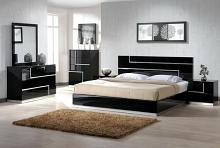 4 pc black lacquer finish wood modern style queen bed set with inlay