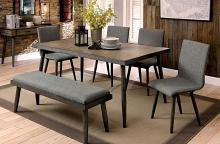 6 pc vilhelm i collection mid century modern style gray finish wood dining table set