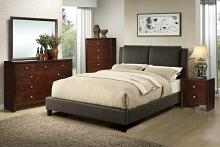 5 pc proctor collection brown faux leather upholstered queen bedroom set