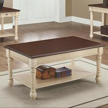 Wildon collection dark cherry and antique white finish wood and ornate accents coffee table