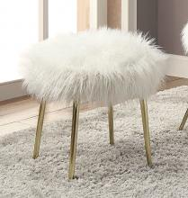 CM-AC6546-OT Caoimhe white fur like fabric upholstered ottoman with gold legs