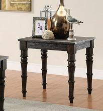 Kami collection antique black finish wood end table with turned legs