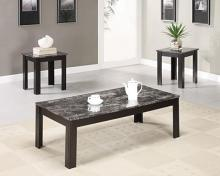 700375 3 pc black finish wood and faux marble top coffee table set