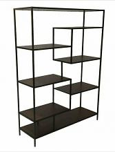 Wilmington II collection walnut finish wood and black metal finish shelf