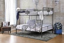 Olga I collection antique black finish metal frame industrial inspired style full over queen bunk bed set