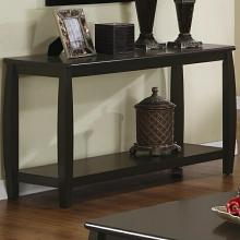 Wildon collection espresso finish wood sofa table with lower shelf