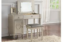 2 pc Angelica collection silver finish wood make up bedroom vanity set with storage and stool and flip up mirror