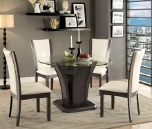 Furniture of america CM3710GY-RT-SC 5 pc manhattan i contemporary style gray finish wood base and round glass top dining table set