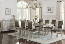 Poundex F2432-1705 7 pc silverstry II collection silver tone finish wood dining table set with padded seats