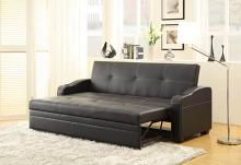 Home Elegance 4838 Marcelo collection black leather like vinyl upholstered folding futon sofa bed with built in cup holders pull out sleep area
