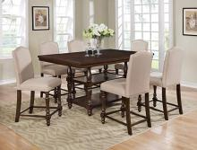 2766T-4266-TAU 7 pc Gracie oaks langley brown finish wood counter height dining table set with taupe chairs